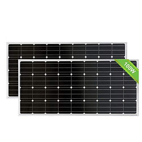 ECO-WORTHY 2 Stück 100 W 12 V monokristallines Solarmodul, 200 W für Off-Gitter-Kit Fahrzeug Photovoltaik-modul