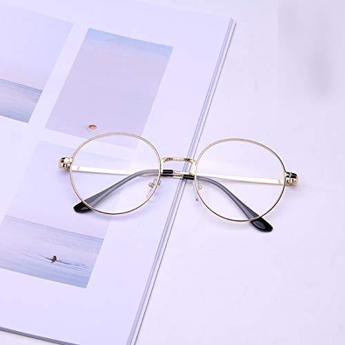 Shiduoli Brillenlose Brillenmode Round Brillengestell Unisex Stilvolle gefälschte Brillen für Männer, Frauen (Color : Gold)