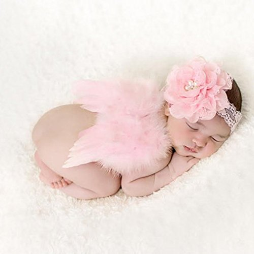 (HENGSONG Baby Nette Haarband Stirnband Blumen Engel Flügel Kostüm Fotografie Props (Rosa))