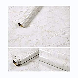 Marble Contact Paper Gloss Vinyl Film Self-Adhesive Marble Sticker Kitchen Counter Top Cabinet Furniture Wall Bath Living Room