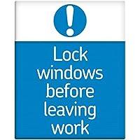 Windows prima di lasciare lavoro serratura di sicurezza in metallo Segno 25,4x 20,3cm autoadesivo