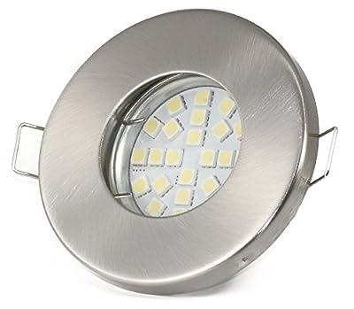 12Volt Bad Einbaustrahler IP65 Farbe: Edelstahl gebürstet   (AC/DC) 12V 5Watt LED Leuchtmittel 450Lumen warmweiss   Leuchtmittel austauschbar