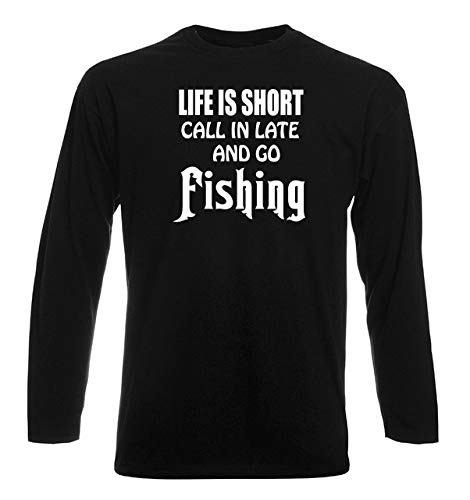 T-Shirt por los Hombre Manga Larga Negra FUN2355 Life is Short Call in Late 005407a52fe05