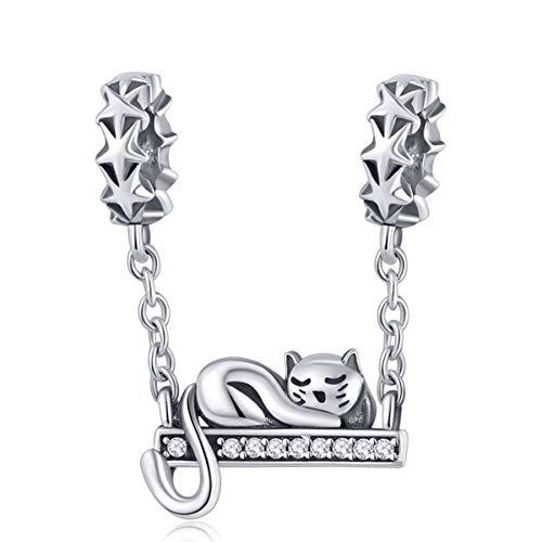 Reiko Faule Katze Bead Charms aus 925 Sterling Silber für Mädchen und Frauen, Anhänger für Armbänder und Halsketten -