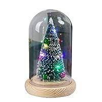 Uonlytech Christmas Night Light Glass Dome Light Christmas Tree with Lights for Festival Birthday Party Supplies Bar Home Desktop Decor (Christmas Tree)