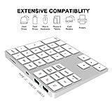 IKOS Tastiera numerica Wireless Bluetooth C USB con hub USB per Apple/Windows/Android - Tastierino numerico Esterno per Laptop e Tablet - Durata della Batteria estesa - Tastiera Esterna a 34 Tasti