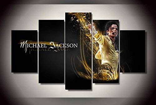 Dionysios Art HD Print Home Decor Michael Jackson Gemälde für Wohnzimmer Wand Poster Bild - 5-teiliges Leinwand-Set, Canvas, Framed, Größe 1 (Home Jackson Michael Decor)