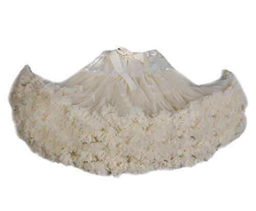 Beige Tanz Kostüm - DELEY Damen Erwachsene Tutu Kostüm Princess Tanz Röckchen Puff Rock Petticoat Unterrock Beige