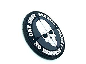 One Shot One Kill No Remorse I Decide Sniper PVC Airsoft Velcro Patch