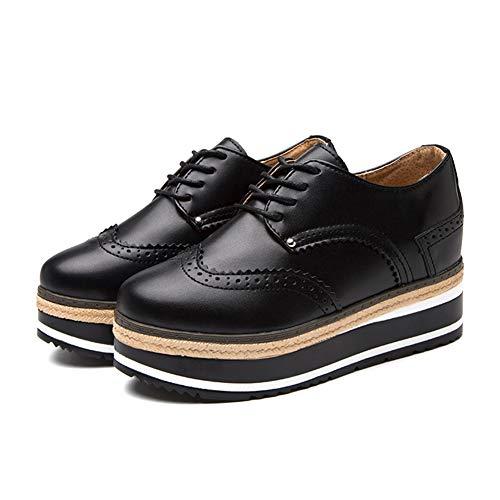 Plataforma Mujeres Oxfords cuña Cuero Zapatos tacón