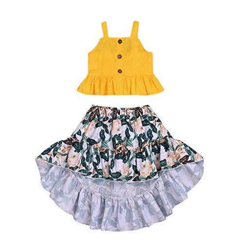 Alwayswin Kleinkind Kind Baby Mädchen Sommer Bluse Tops Blumenrock Kleid Outfits Kleidung Ärmellos Rüsche Sling Weste Blumig Drucken Langer Rock Freizeit Mode Wild Strandrock