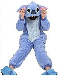 Tier Onesie Pyjama Blau Stich Kostüme Kigurumi Schlafanzug Erwachsene Unisex Tieroutfit tierkostüme Jumpsuit (S(für Höhe 150-160cm))