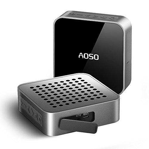 AOSO METALBOX Altoparlante Bluetooth IPX5 impermeabile esterna senza fili Altoparlante Aux-In 12 ore di autonomia 5W driver Con Hi-Fi stereo Bassi e  microfono integrato per iPhone iPad TV Samsung PC Tablet Cellulari Car