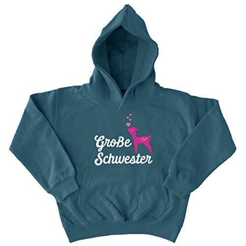 Shirtfun24 Kinder Große Schwester REH Rehkitz Glitzer Herzen Fun Hoodie Airforce blau, S Air Force Mom Sweatshirt
