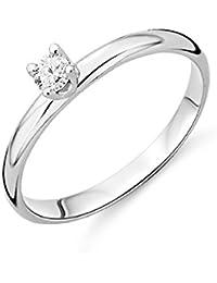 Miore Brillantring für Damen mit Solitär / Zeitlos schöner Ring aus 9 kt. Weißgold mit 0.10ct. Brillanten / In 4 unterschiedlichen Größen erhältlich