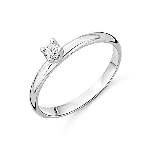 Miore 9 kt (375) White Gold Solitaire Ring with Diamond (0.10ct) for Women (White Filigran Gold Ring)