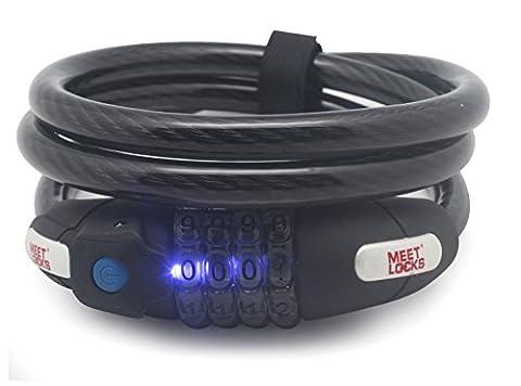 Meetlocks Combinaison Réinitialisable Enroulé Cable Lock avec lumière LED,