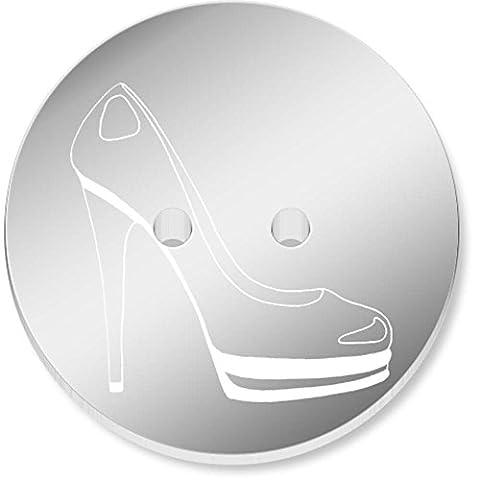 8 x 23mm 'Chaussure' rond 2 trou boutons en miroir (BT00028585)