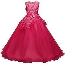 BBestseller Niña Vestido de Noche Princesa Elegante sin Mangas Flor Rosa Boda Vestido de Fiesta Tutu