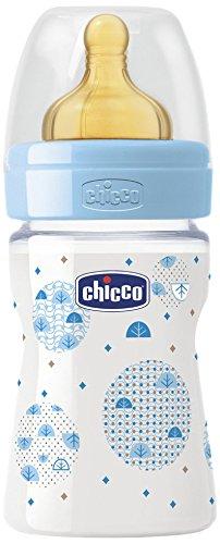 Chicco Wellbeing - Biberón con tetina de látex y flujo normal para bebé de 0m+, 150 ml, color azul