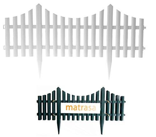 Beetzaun Beeteinfassung Gartenzaun - aus Kunststoff in Holzoptik ca. 2,4 Meter (4er Set - weiß)