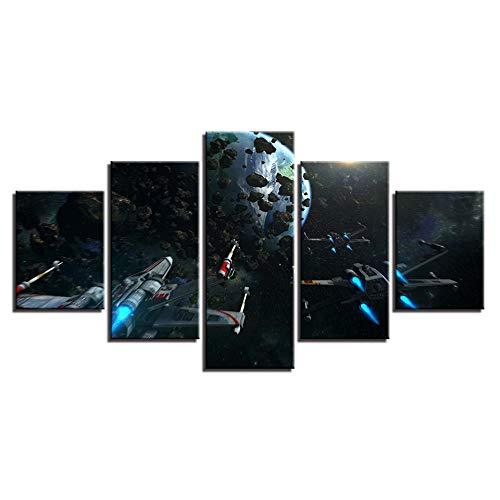 YYKWH Leinwand Malerei 5 Stücke Abstrakte Tisch Wandkunst Bild Leinwand 5 Panel Star War Film Moderne Hd Druck Malerei Modulare Poster Dekoration Kunst 200X100 cm -
