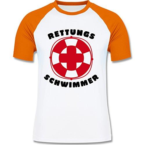 Wassersport - Rettungsschwimmer - zweifarbiges Baseballshirt für Männer Weiß/Orange