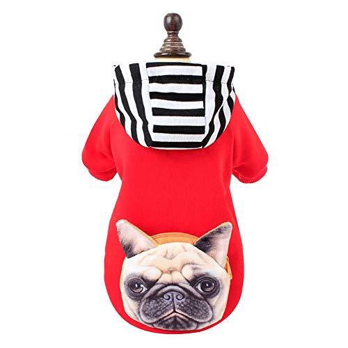CplaplI Kapuzenpullover, süßes 3D-Design mit Bulldoggen-Streifen, für Herbst und ()