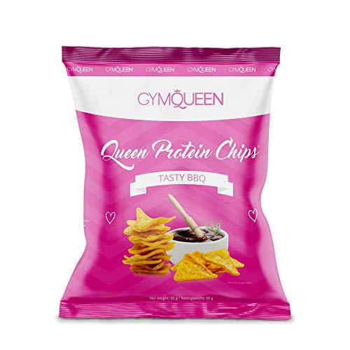 PROTEIN CHIPS | 70{6eafb0e2410b63a579079f2e05b028c2dbd612e0ebb41d824736e79abfb4f1ad} weniger Fett | nur 9g Fett je 100g | im Ofen gebacken | Kartoffelchips | High Protein | 22g Eiweiß/100g | nur 211kcal pro Portion (50g) | GymQueen | 50g | Tasty BBQ