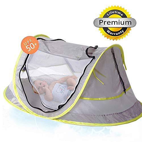Sinotop Tente de voyage pour bébé, portable bébé Tente de plage UPF 50 + Abri Soleil, Pop Up Moustiquaire et 2 piquets, Super léger bébé Moustiquaire