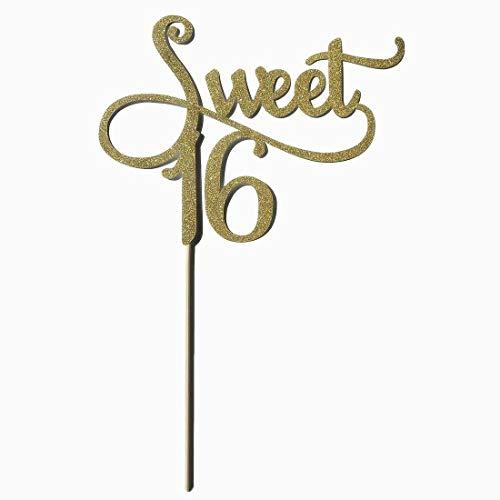 (Ouken 20pcs glitter gold mit rosa Bändchen Bogen 1. Geburtstag Dekorationen, Nummer Cupcake Toppers, Party-Kuchen Cupcake dekorative Toppers)