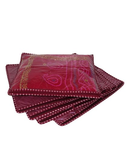 Kuber Industries™ Rexine Saree Cover (Set Of 12) - Maroon