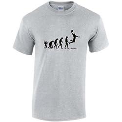 Camiseta, diseño de baloncesto con evolución del hombre gris gris X-Large