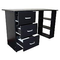 Redstone Computer Desk 3 Drawers 3 Shelves (Black)
