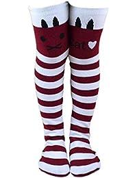 CAOLATOR Rodilla Pantys Niños Alto Estiramiento Calcetines un Tamaño Movimiento Moda Calcetines Navidad Accesorios-Blanco