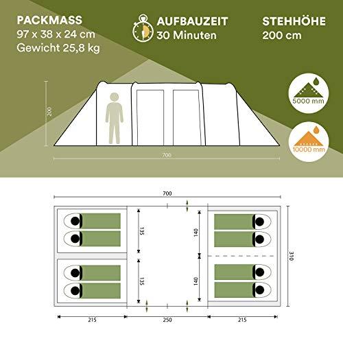 Skandika Montana 8-Personen Familienzelt, 2 trennbare Schlafkabinen, 5000mm Wassersäule, 200cm Stehhöhe - 6