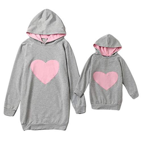 Mutter und Tochter Partnerlook Kapuzenpullover Mama Baby Kleidung Set Herz Muster Familien Sweatshirt Rundhals Langarm Pullover Winter/L