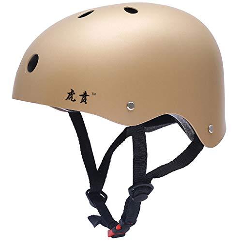 WXFQY Sport Fahrradhelme, Fahrrad Skating Skateboard Helm Männer Frauen Sicherheit Motorrad Cap Hiphop Schutzhelme Breaking Protective Gear (Color : Gold, Size : S 50~54CM)