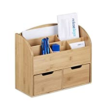 Relaxdays Bamboo Desk Organiser, Letter Holder, 6 Compartments, 2 Drawers, Wood Grain, 25.5 x 33 x 13.5 cm, Natural Brown, 13.5 x 33 x 25.5 cm