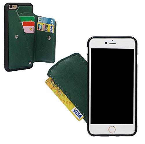 """xhorizon Behütendes Leders- Gehäuse des Geldbeutels, dauerhaftes zitternsbeständiges Gehäuse mit Kreditkarte und Schnitzsträger für iPhone 6 Plus / iPhone 6S Plus(5.5"""") mit einem 9H Ausgeglichen Glas  grün + 9H Tempered Glass Film"""