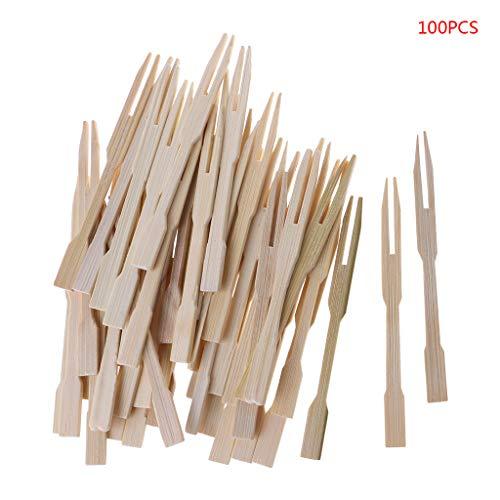 Chiic Einweg-Bambus-Gabeln aus Holz, Obstgabeln, Dessertgabeln, Geschirr, Partydeko, 100 Stück