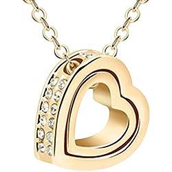Contever® Damen Künstliche Kristall Halskette Anhänger Charme mit Freiem Geschenk Kasten Kettenlänge 45 cm - Golden