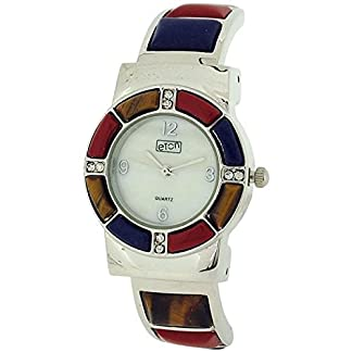 Señoras de Eton Mother Of Pearl Dial de color de tono de plata brazalete de Metal reloj 3164