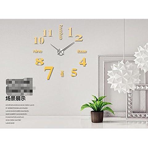 stile europeo e americano, orologio da parete a specchio 3D