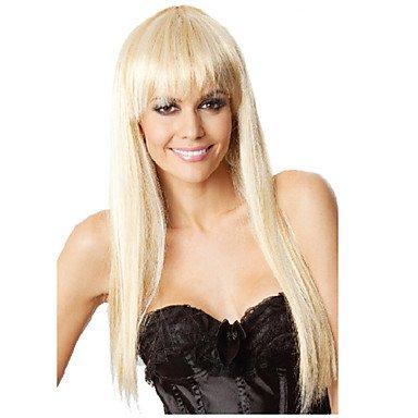 ZW-hei?en Damen High Fashion Festival goldenen Per¨¹cke mit langen glatten Haaren , blonde (Fashion Perücke High)
