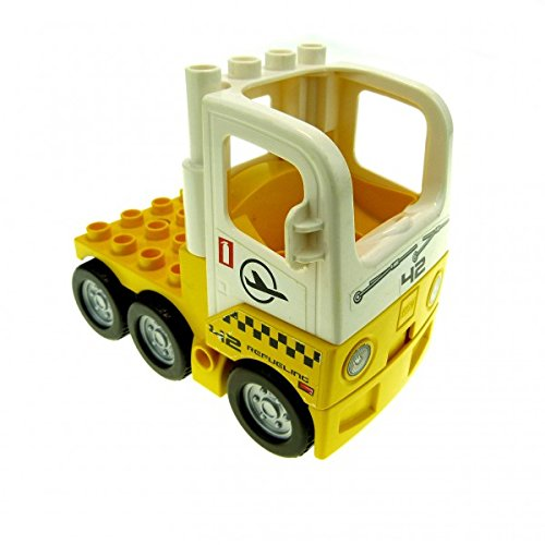 Preisvergleich Produktbild 1 x Lego Duplo Fahrzeug LKW Zugmaschine gelb weiß mit Sticker ' 42 Refueling ' Auto Chassis Flughafen Tankwagen 1326c01 48125c02