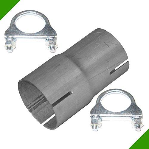 Reduktion Abgasanlage Reduzierstück von 50mm auf 55mm Auspuff Adapter inkl. 2 Schellen Rohr Verbindungsstück Klemmstück Rohrverbinder Reduzierverbinder Reduzierung