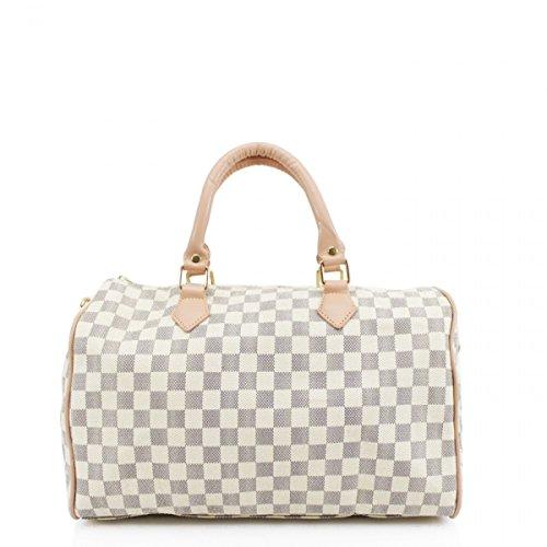 LeahWard® Damenmode-Designer-Einkaufstasche Qualität Kunstleder Schultertaschen Handtaschen 41412 (Weiß Prüfen H26cm x W36cm x D17cm)