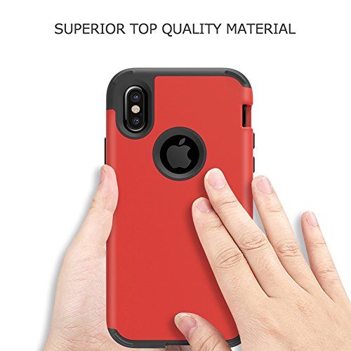 "iPhone X Case, VMAE Three Layer Heavy Duty Hybrid Full Body Defender Protective Cover High Impact Resistant Armor Case For iPhone X / iPhone 10 5.8"" 2017 Release - Mint Red"
