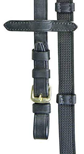 HKM 4000315237340 Zügel mit Anti Rutsch Auflage & Stoppern9172 schwarz/goldSt
